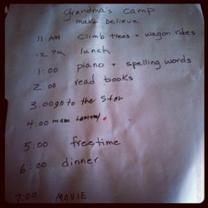 Grandma's Camp Itinerary