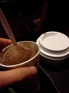 chai and chocolate ice cream at the movies
